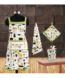 Multi Printed Collection Apron Set(Pack of 4) by Fun Club