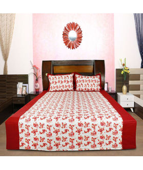 Floral Cotton Printed Bedsheet W/2 Pillow Covers-Pack of 3 Pcs  by Dekor World (MORE COLOR)