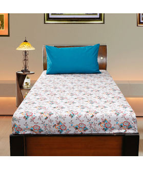 Floral Cotton Printed Single Bedsheet W/ Pillow Cover-Pack of 3 Pcs  by Dekor World