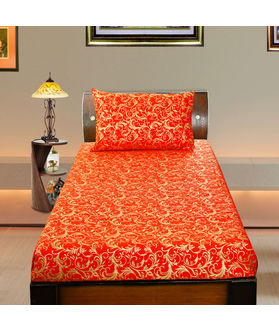Cotton Gold Printed Single Bedsheet Set W/Pillow Cover-Pack of 3 Pcs  by Dekor World (MORE COLOR)