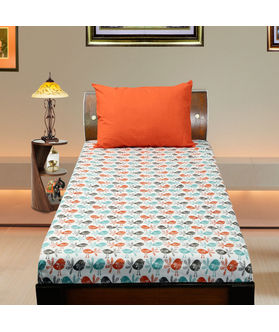 Cotton Bird Printed Single Bedsheet Set W/Pillow Cover-Pack of 3 Pcs by Dekor World