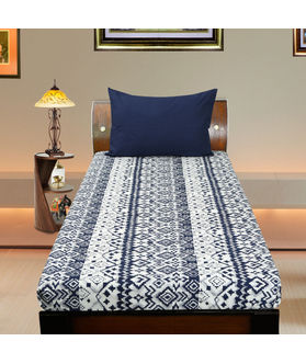 Cotton Ikat Blue Printed Single Bedsheet Set W/Pillow Cover-Pack of 3 Pcs by Dekor World
