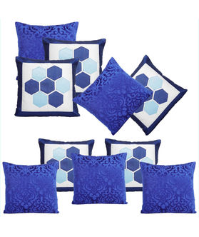 Dekor World Blue delight Combo. Cushion Cover (Pack of 10)