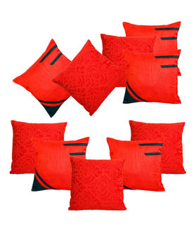 Dekor World Red Delight Combo. Cushion Cover (Pack of 10)