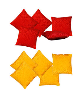 Dekor World Red Yellow Velvet Touch Combo. Cushion Cover (Pack of 10)