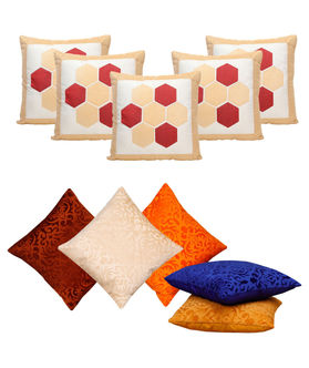 Cream delight Combo. Cushion Cover (Pack of 10) By Dekor World