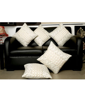 Embroidered Exclusive White Cushion Cover (Pack Of 5)(More Color)