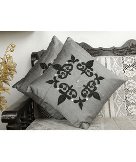 Emboidery Grey Cushion Cover (Pack of 2)(More Color)