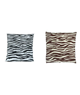 Zebra Printed Cotton Chair Pad (Pack of 1)(Maor Color)