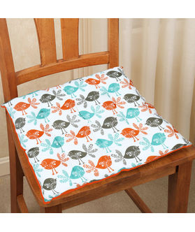 Bird Printed Cotton Chair Pad (pack of 1)