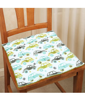 Car Printed Cotton Chair Pad (pack of 1)