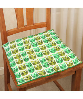 Owl Printed Cotton Chair Pad (pack of 1)