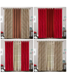Dekor World Beige Rose Printed With Plain Eyelet Curtain Set (Pack of 3)