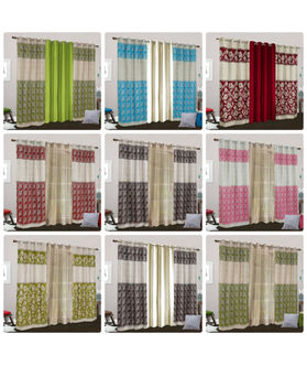 Dekor World Abstract Maroon With Plain Eyelet Curtain Set (Pack of 3 Pcs)