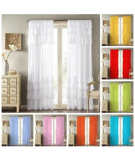 Dekor World Voil Ruffle Cotton Rod Curtain Set (Pack of 2)