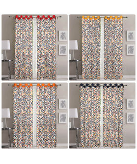 Dekor World Multi Blue Cotton Eyelet Curtain (Pack of 2)