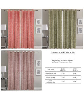 Dekor World Peach Sulb Eyelet Curtain (Pack of 2)
