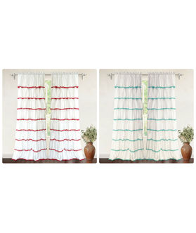 Dekor World Voil Pompom Lace Rod Curtain (Pack of 2)