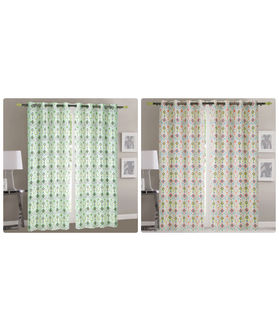 Dekor World Abstract Multi Cotton Printed Eyelet Curtain Set (Pack of 2)