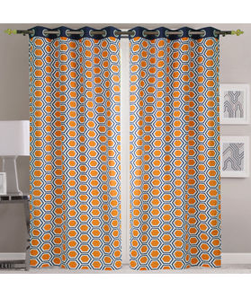 Dekor World Hexagonal Blue Orange Cotton Printed Eyelet Curtain Set (Pack of 2)
