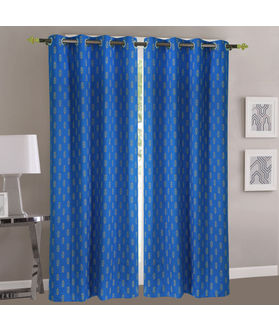 Dekor World Abstract Blue Cotton Printed Eyelet Curtain Set (Pack of 2)