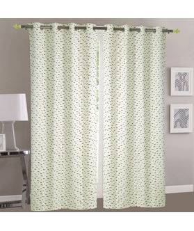 Dekor World Mini Elephant Cream Cotton Printed Eyelet Curtain Set (Pack of 2)