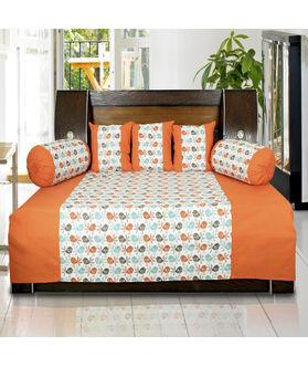 Bird Printed Cotton Orange Diwan Set (Pack of 6) by Dekor World