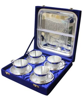 Dekor World Silver Plated Tea Cup Tray Set Of 4 Pc
