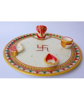 Ganapati marble thali with emboss work by Dekor World