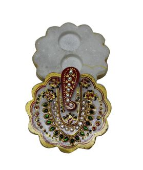 Hand Painted Round Ganesha Roli Tika Holder by Dekor World
