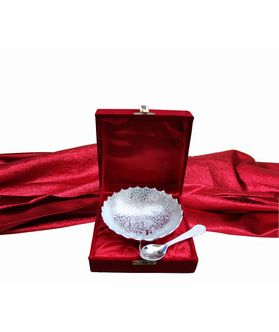 Dekor World Silver Plated Elephant Bowl And Spoon with Velvet Box