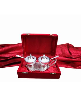 Silver Plated Lotus Puja Thali With Box  by Dekor World