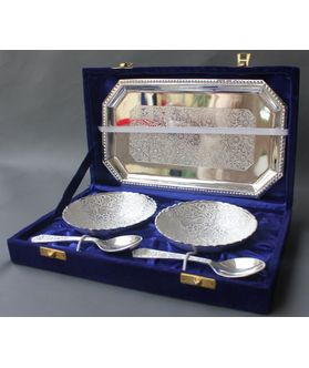 Dekor World Silver Plated Bowl With Tray spoon Set Of 5 Pc