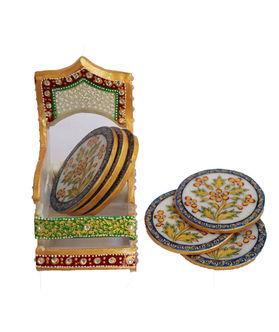 Dekor World Painted Marble Coaster Set
