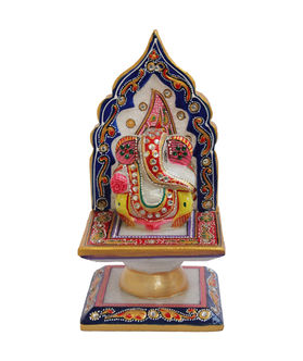 Dekor World Painted Marble Ganesha on Singhasan