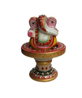 Dekor World Painted Marble Round Rotating Ganesha