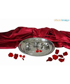 Steel Pooja Thali Set Of 4  Pcs by Dekor World