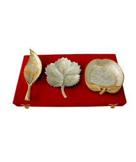 Dekor World Silver Gold Tray Set Of 3 Pc