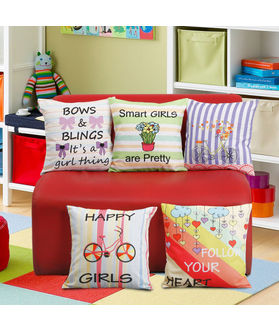 Fun Club Kidz Girls Digital World Cushion Collection (Pack of 5 Pcs)