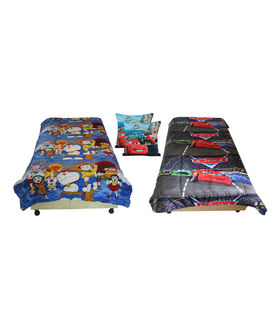 Fun Club Reversible Kids  Ac Quilt With 2 Pcs Cushion Cover
