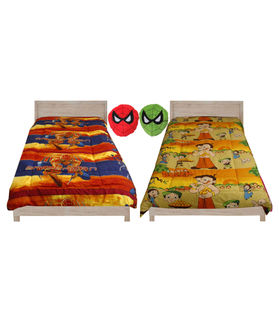 Fun Club Reversible Kids  Ac Quilt With 2 Pcs Toy