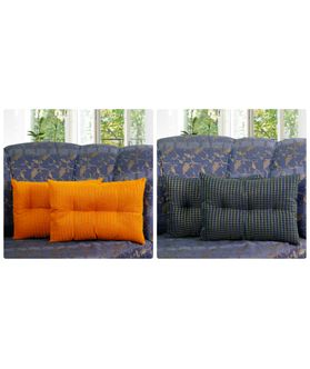Zari Checks Blue Filled Pillow Cover (Pack of 2)