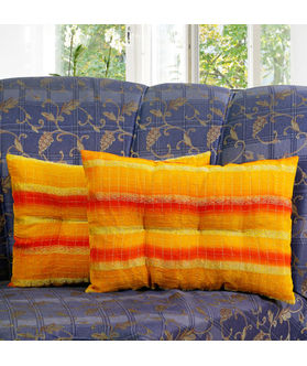 Zari Stripe Yellow Filled Pillow Cover (Pack of 2)