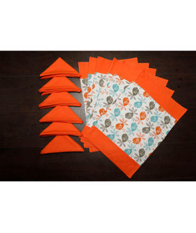 Bird Orange Cotton Printed Place Mat W/ Napkin (Pack of 12) by Dekor World