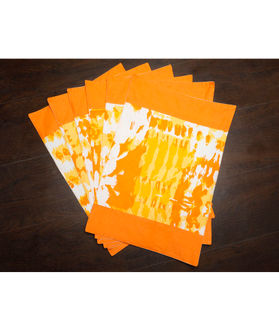 Abstract Orange Cotton Printed Place Mat (Pack of 6) by Dekor World