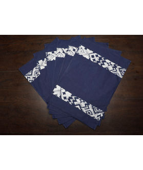 Abstract Blue Cotton Printed Place Mat (Pack of 6) by Dekor World