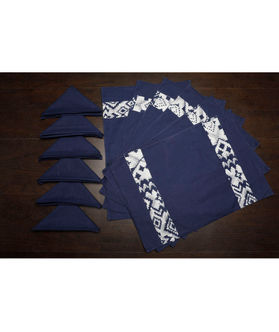 Abstract Blue Cotton Printed Place Mat W/Napkin (Pack of 12) by Dekor World