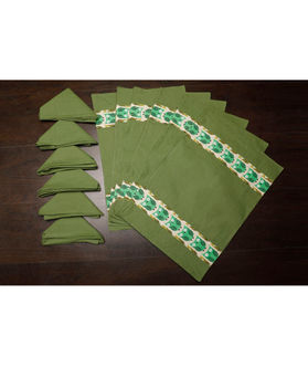 Owl Green Cotton Printed Place Mat W/Napkin (Pack of 12) by Dekor World