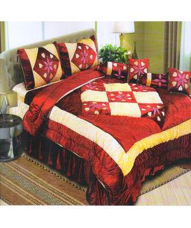 Dekor World Floral Velvet Patch Quilt Combo. Set of 8 Pcs