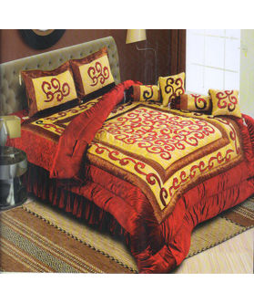 Dekor World Sprial Velvet Patch Quilt Combo. Set of 8 Pcs